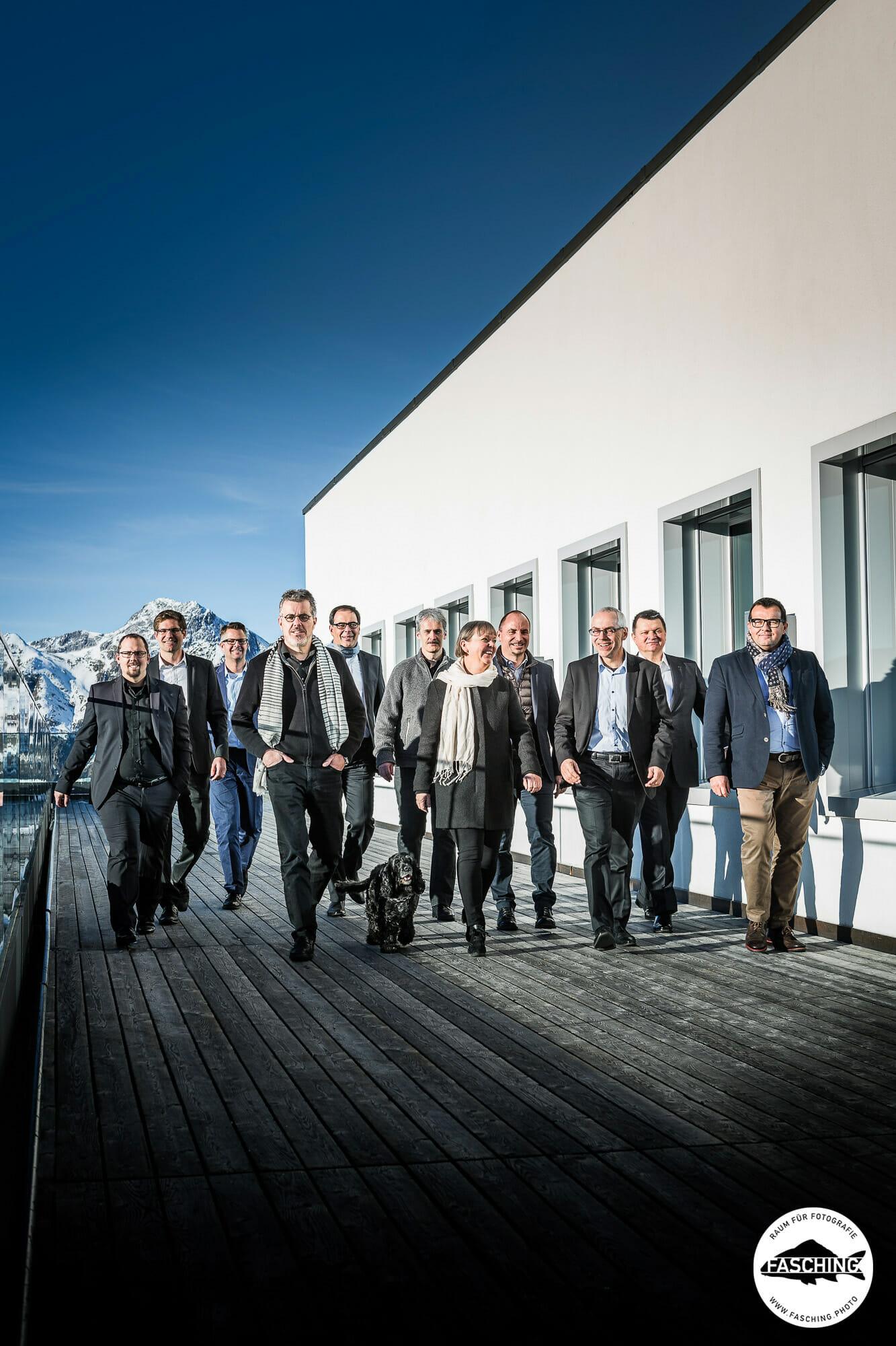 Diese Bussiness Gruppenaufnahmen der Fanzun AG wurden von Unternehmensfotograf Reinhard Fasching fotografiert