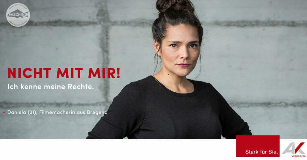 """Luca Fasching, Werbefotograf aus Vorarlberg, fotografiert das Projekt """"NICHT MIT MIR!"""" für die Arbeiterkammer Vorarlberg"""