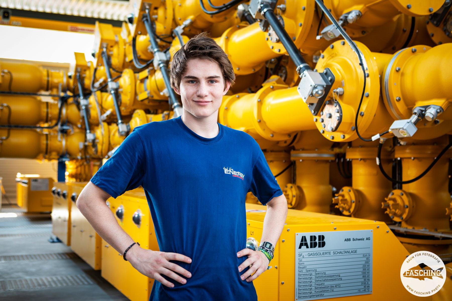 Lehrlingskampagne für das Vorarlberger Unternehmen Illwerke. Industriefotografie und Portraitfotografie kombiniert von Fotostudio Fasching