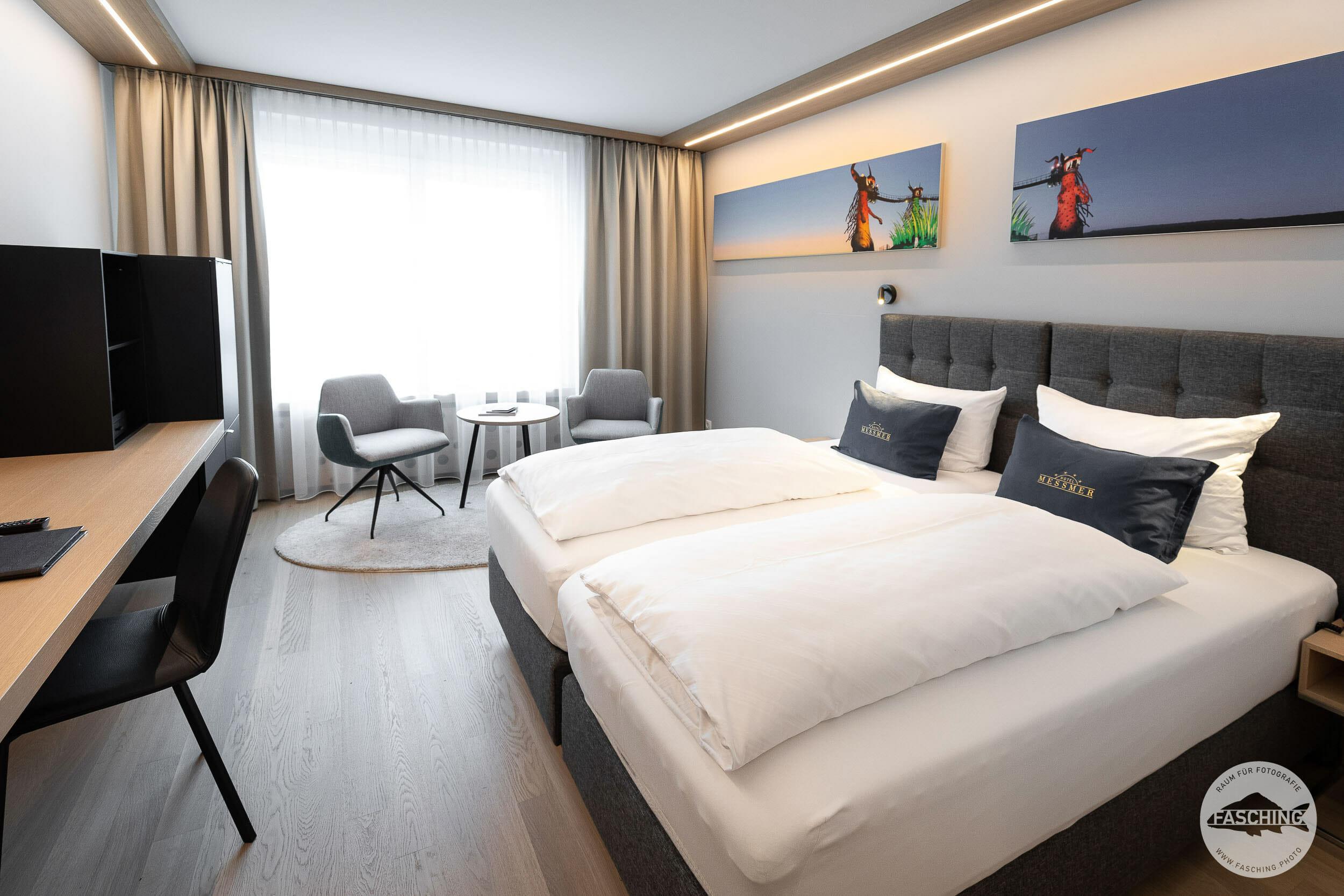 Hotelzimmer im Hotel Messmer, fotografiert von Studio Fasching, Bregenz